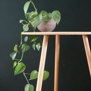 vtg 80s danish 3 leg wood table or plant stand